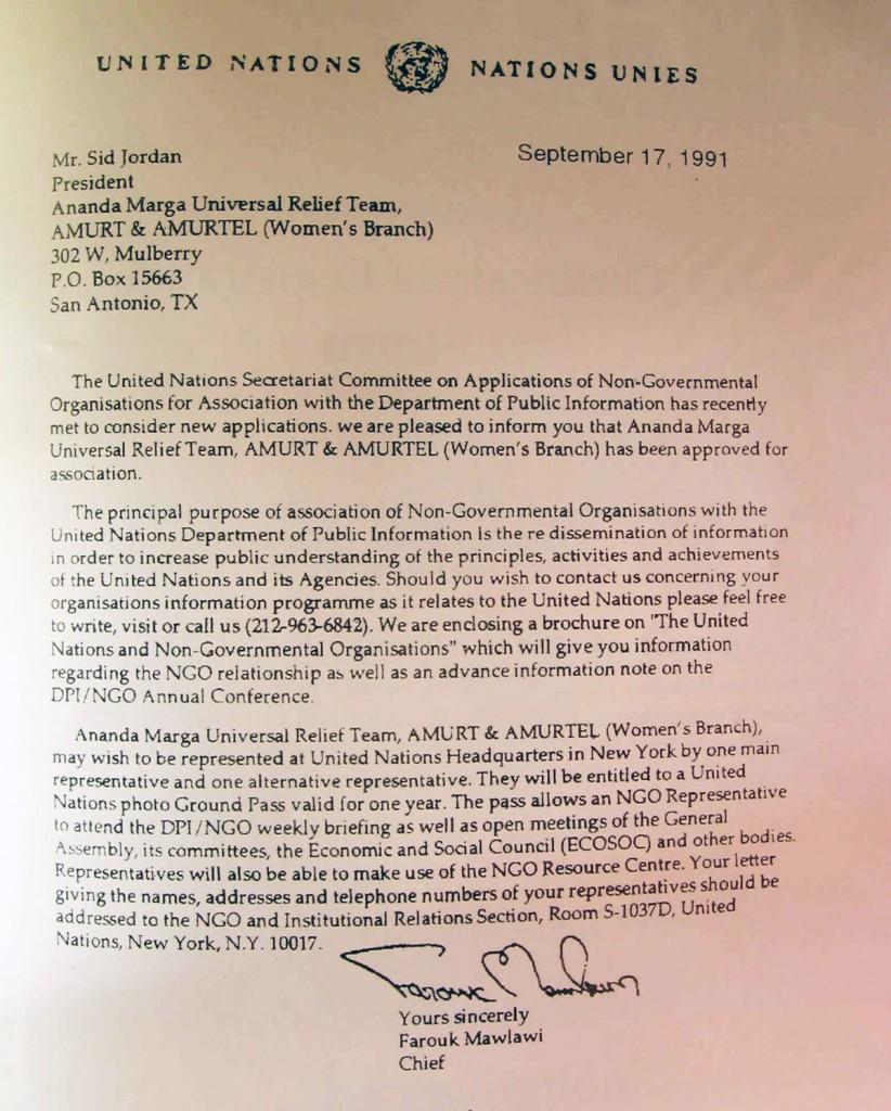 UN letter for AMURT