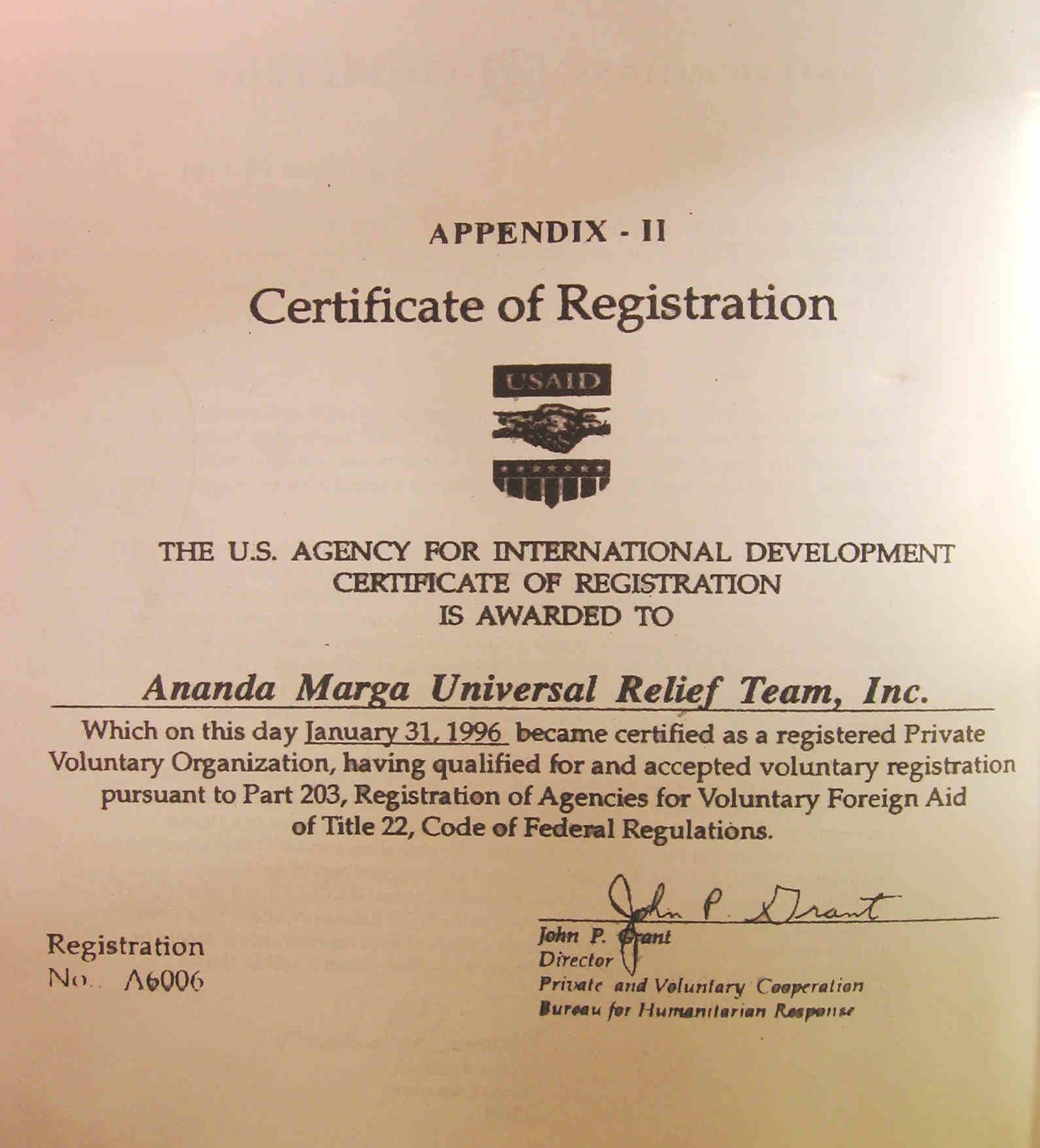 Usaid 1996 Certificate Of Registration Empowering People Inspiring